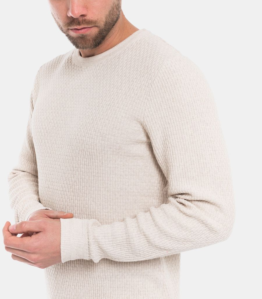 Men's worked sweater light mud. 16068515