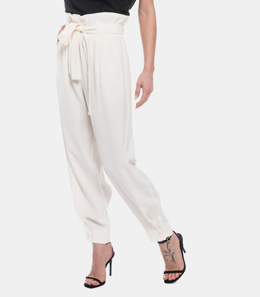 VICOLO WOMEN'S HIGH WAIST SOFT TROUSERS BOW WHITE