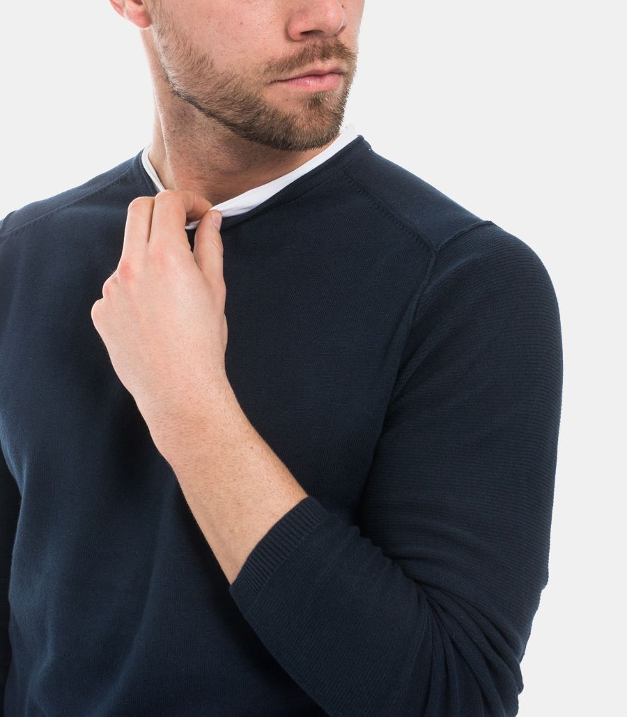 Men's visible stitching sweater blue