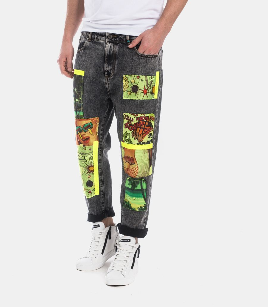 MEN'S JEANS TROUSERS WITH COMIC PATCHWORKS DARK