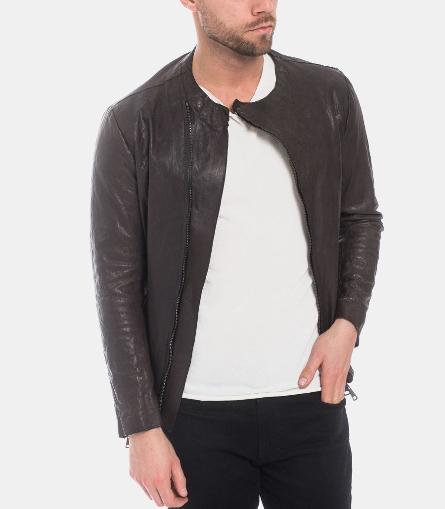 Men's asymmetric vegetable leather jacket brown