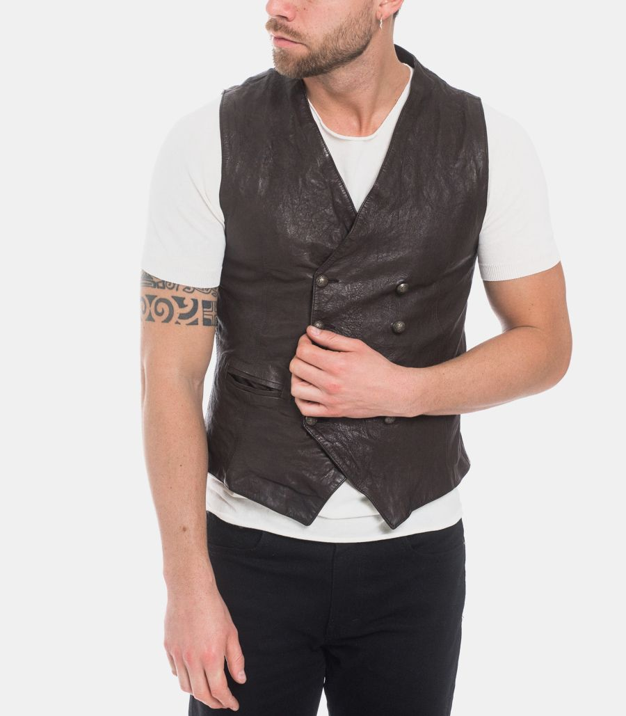 Men's gilet bouble breasted nappa brown