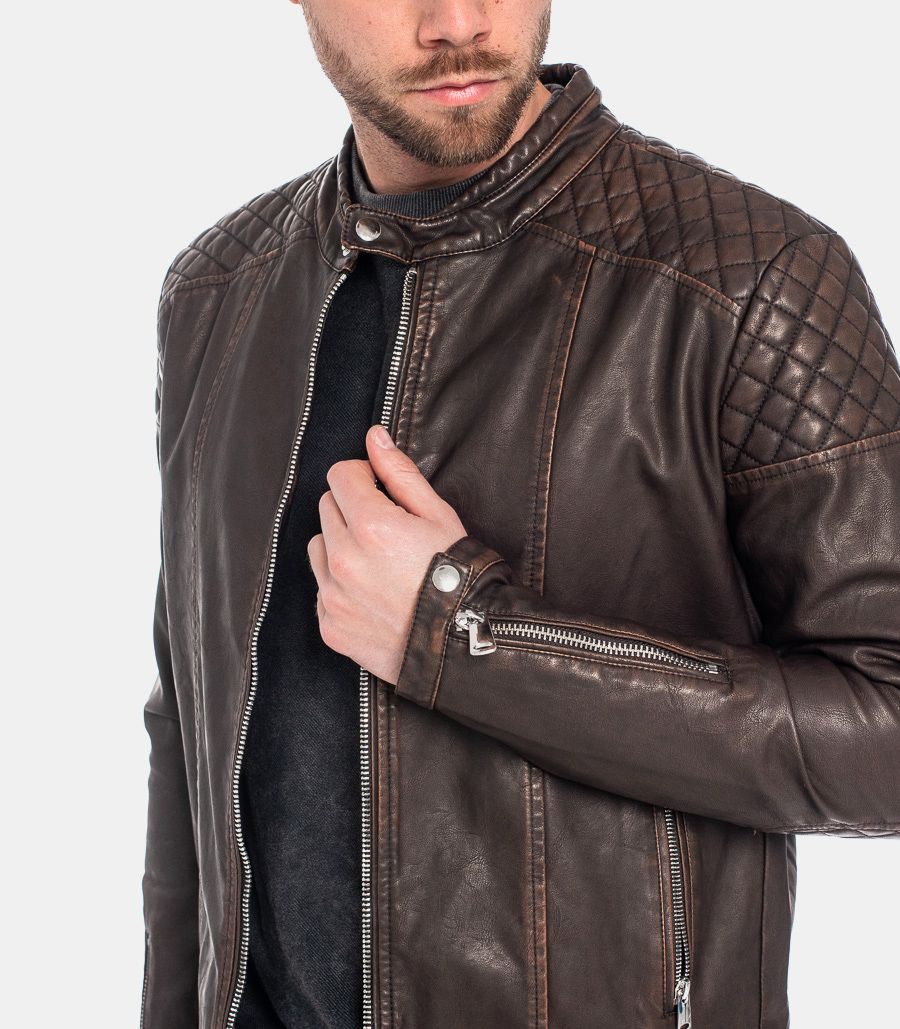 MEN'S ECOLEATHER QUILTED JACKET BROWN
