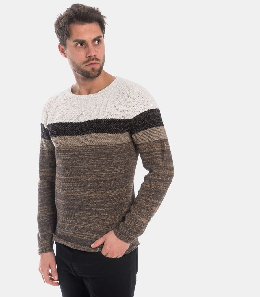 MEN'S TRICOLOR WORKED SWEATER
