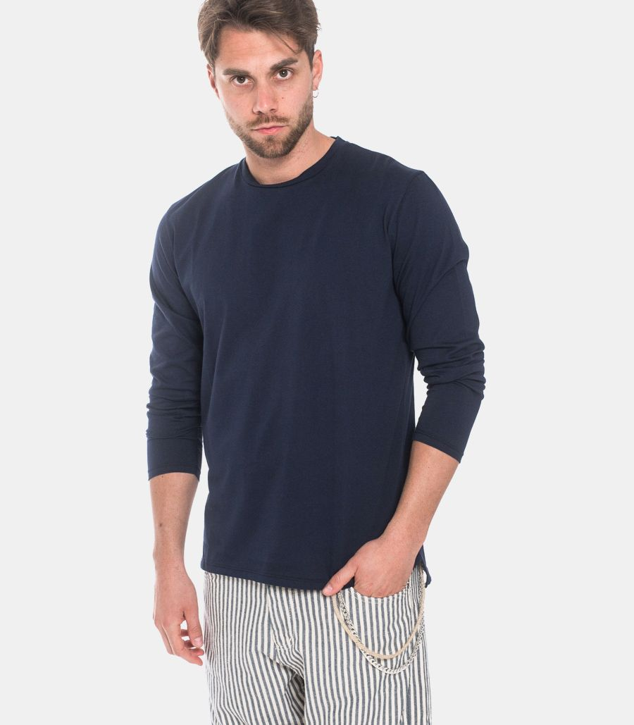 Men's basic long sleeve t-shirt blue