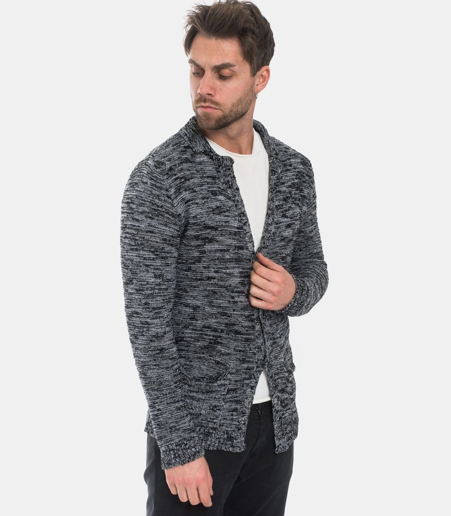 Men's knitted jacket salt and pepper.