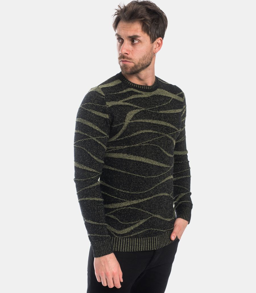 MEN'S ROUNDNECK WORKED SWEATER BLACK GREEN