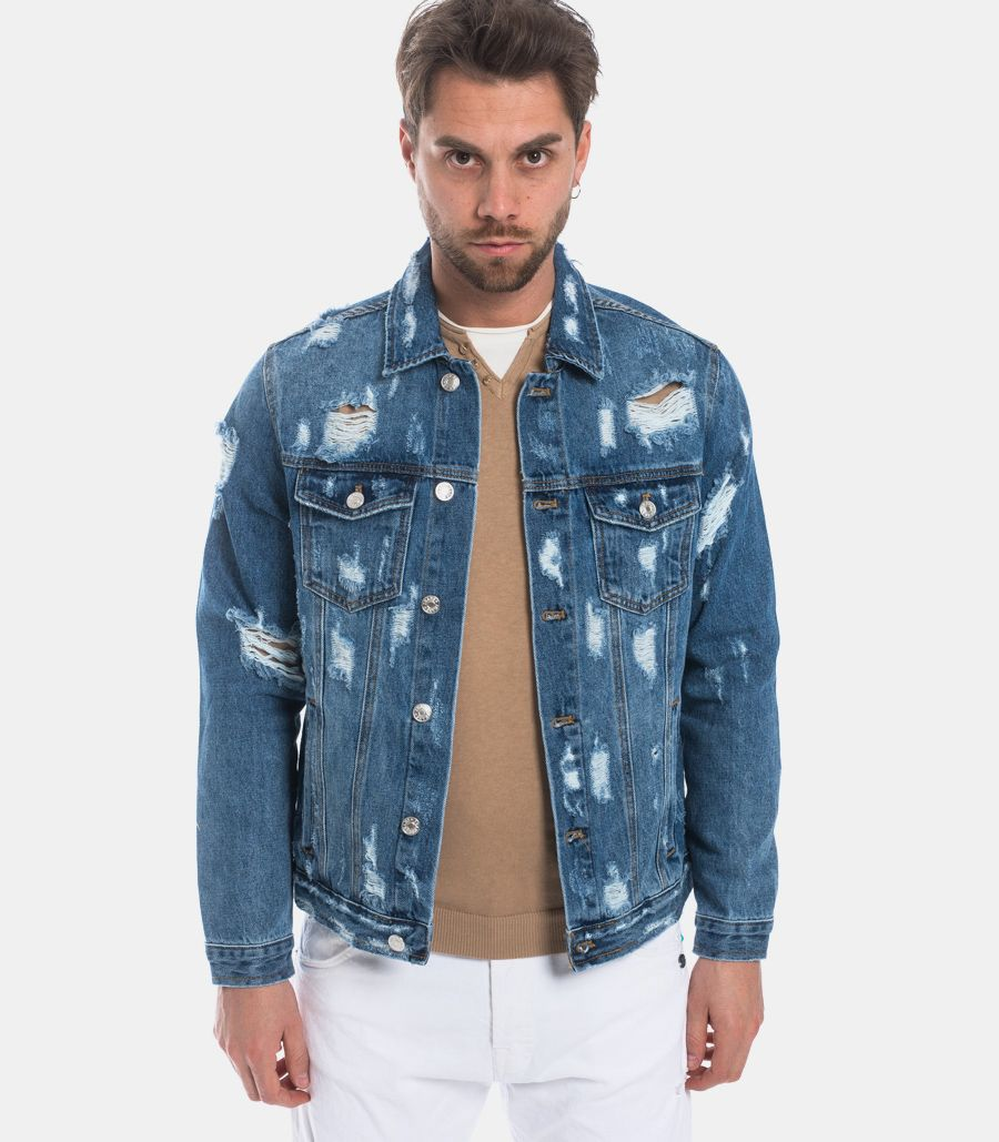 MEN'S JEANS JACKET RIPPED
