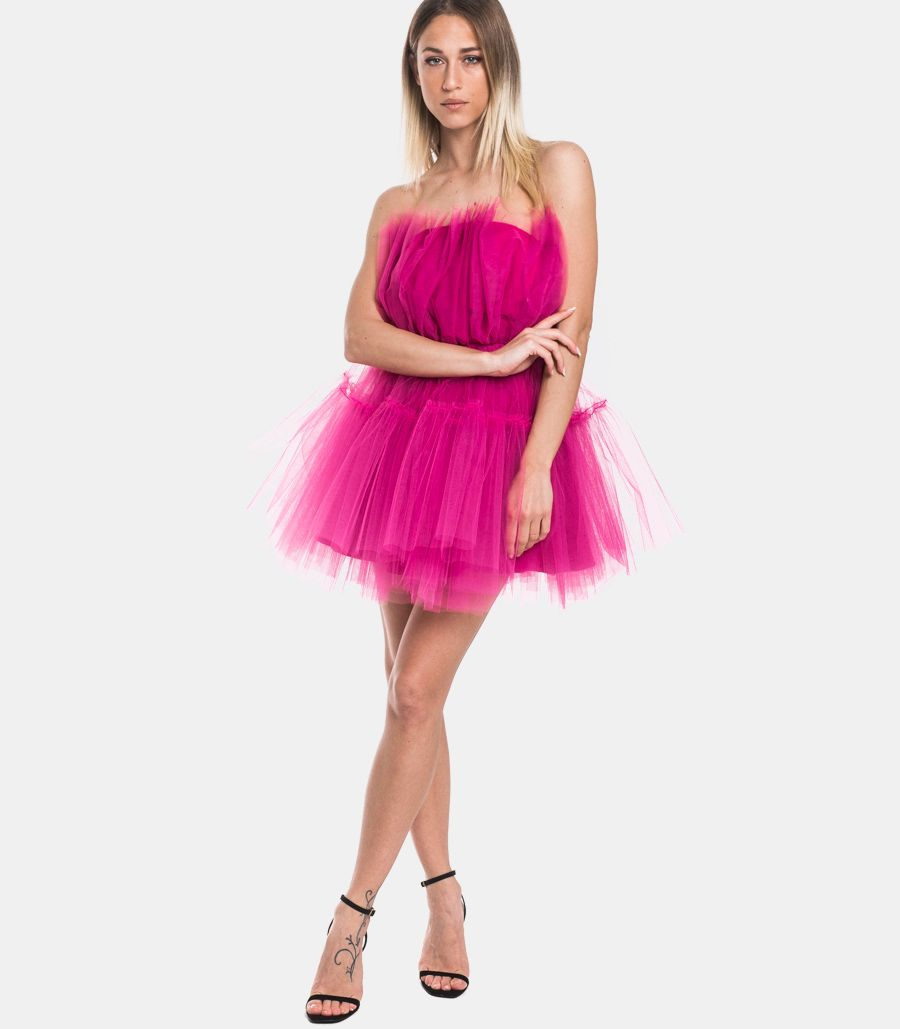 Women's short tulle dress fuxia