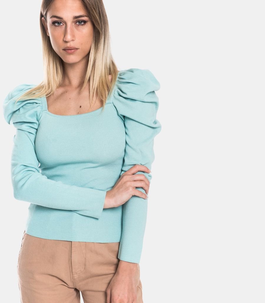 Women's puffed sleeves turquoise