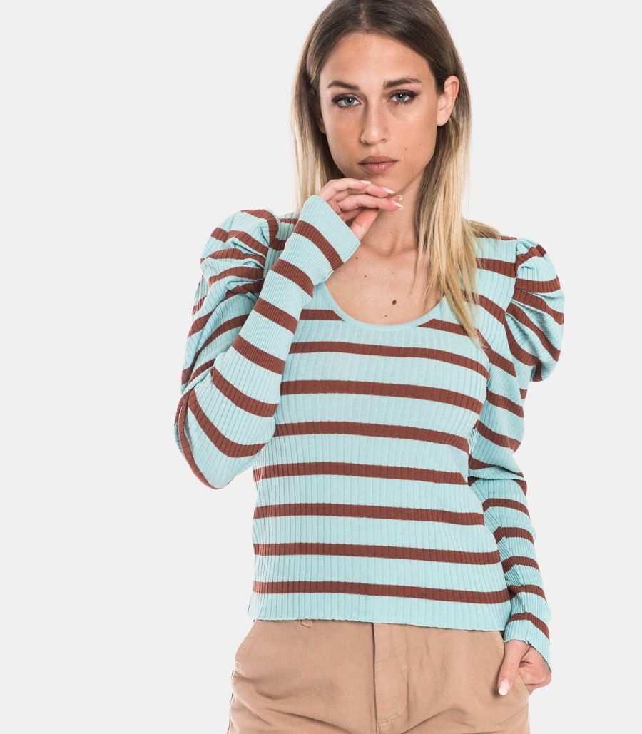 Women's puff sleeve sweater turquoise