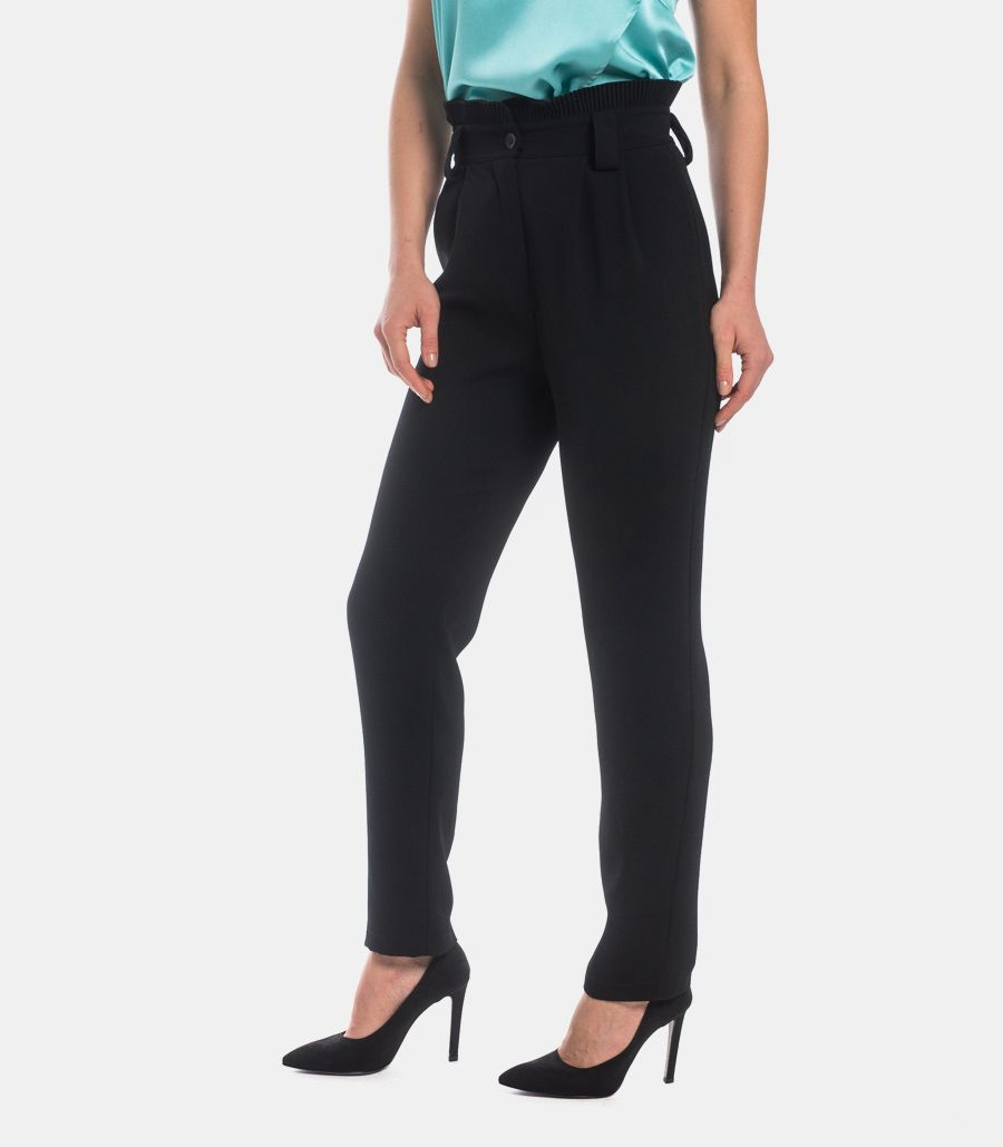 Women's plated basque trousers black