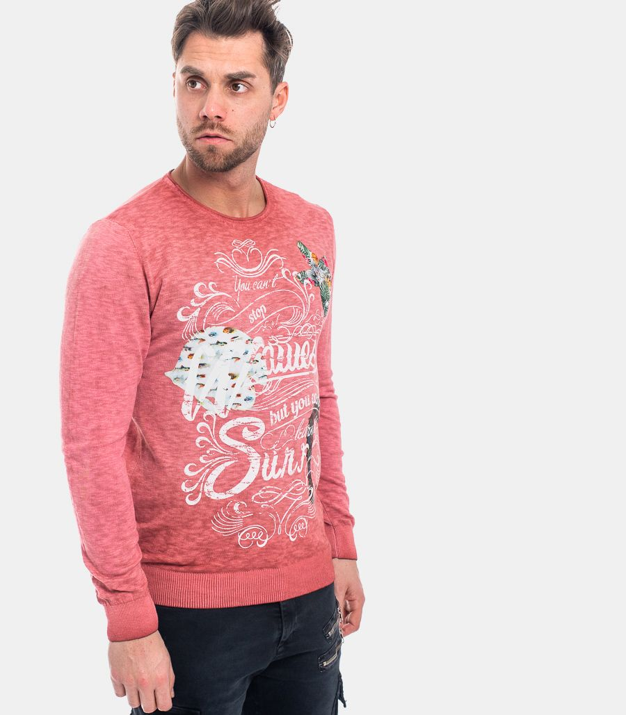 MEN'S HAND PRINTED SWEATER RED