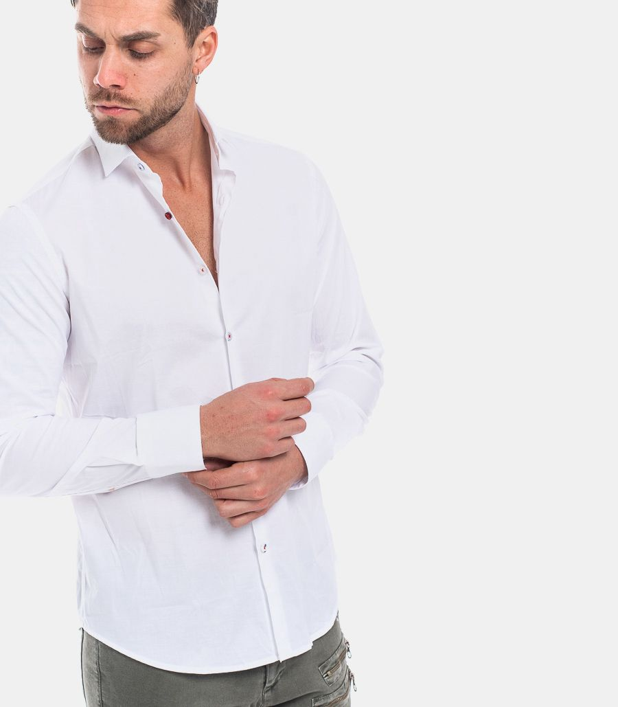 MEN'S BOTTON COLORED SHIRT WHITE