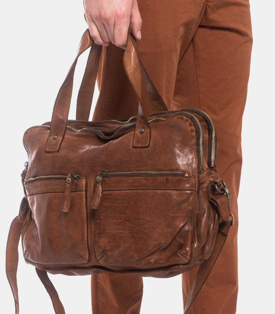 Handcrafted leather bag cognac
