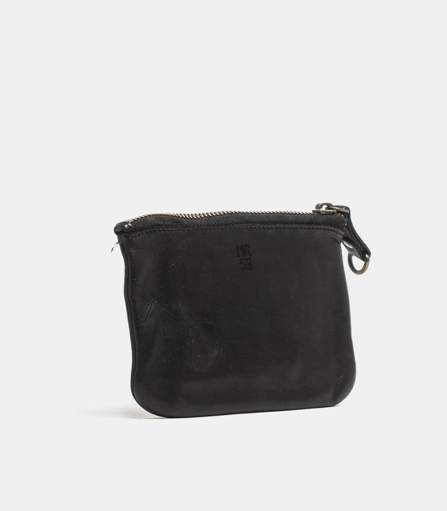 Wallet leather coin with zip black