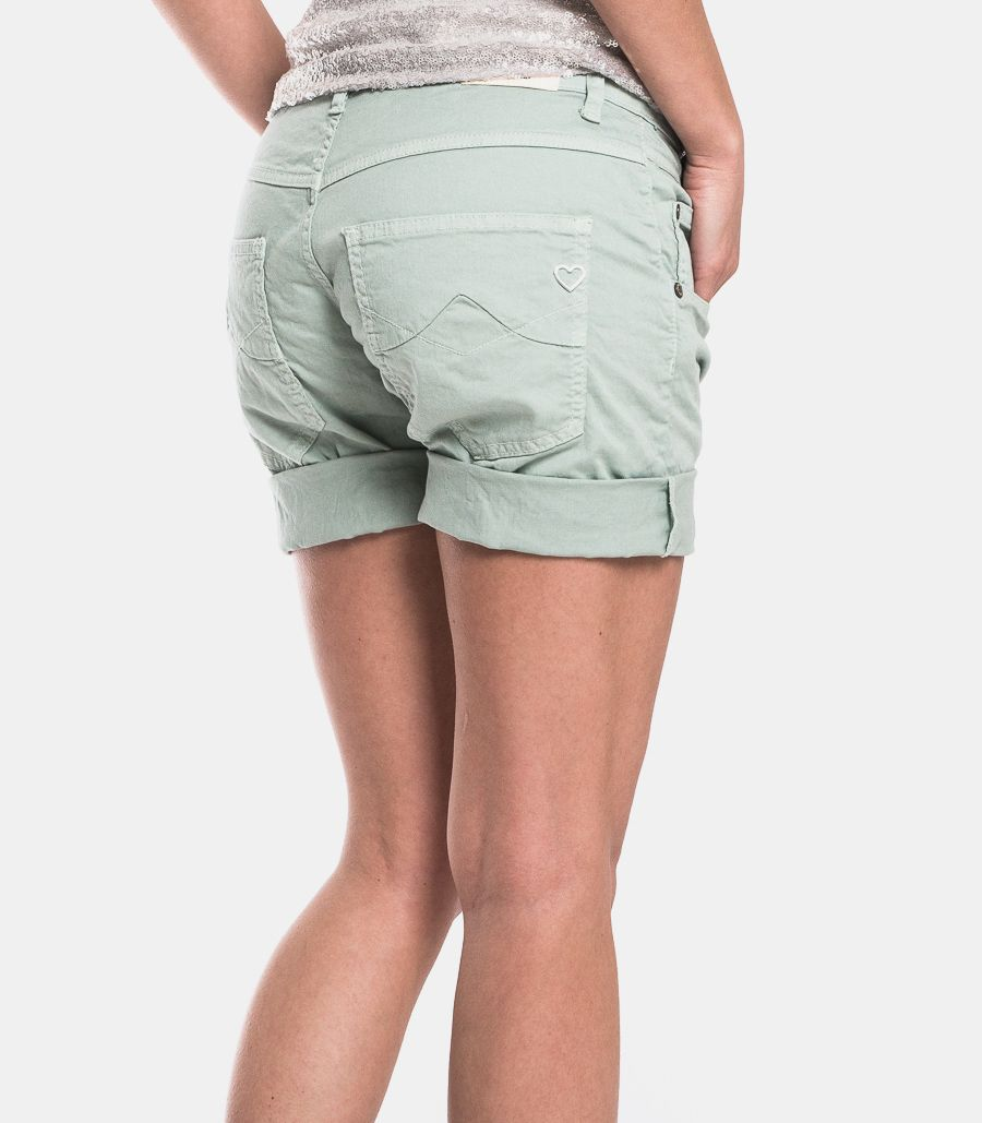 Women's visible buttons shorts sage