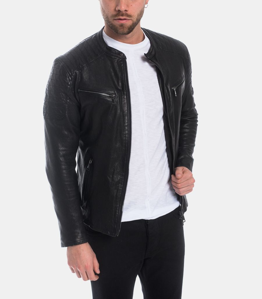 Men's biker rider leather jacket black. 1825