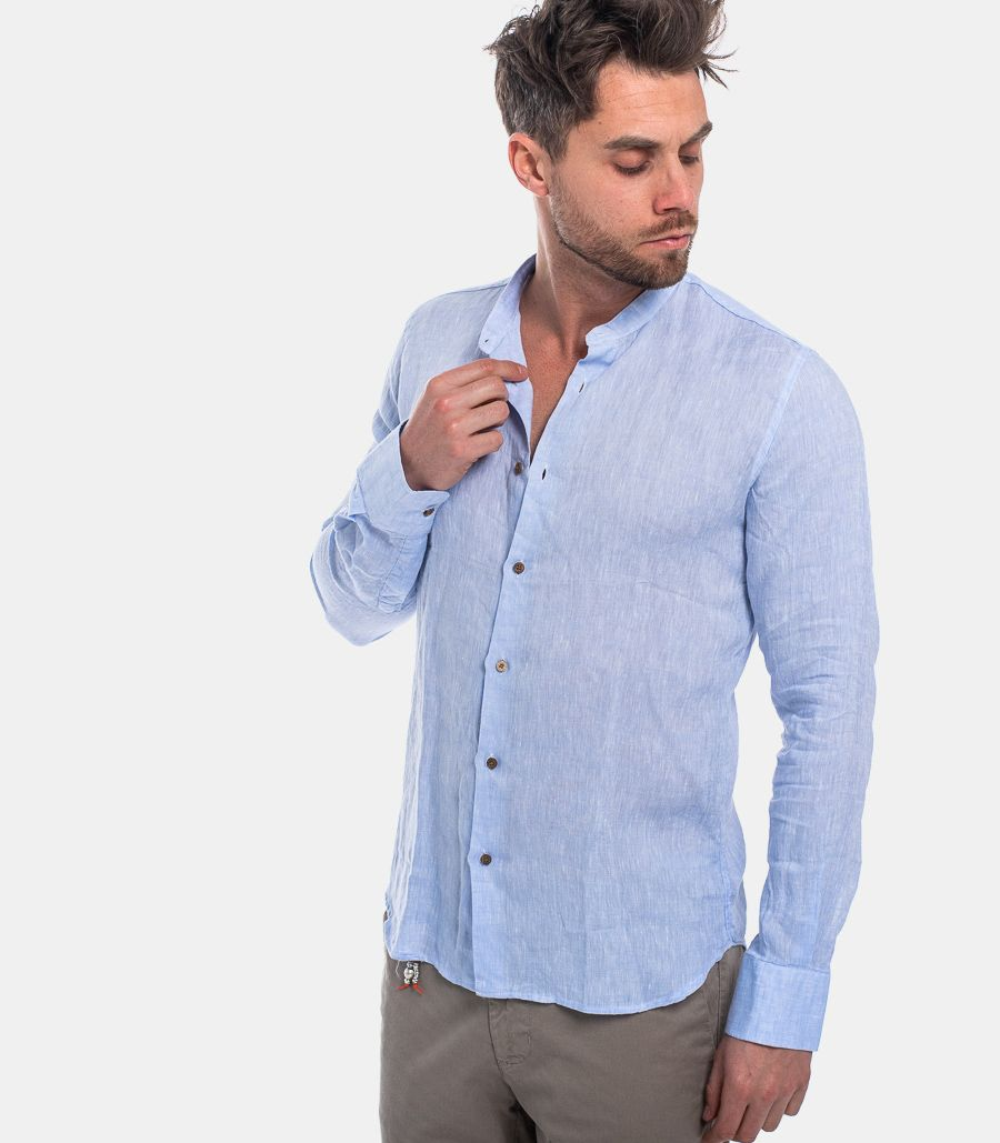MEN'S LINEN SHIRT COCONUT BUTTONS LIGHT BLUE