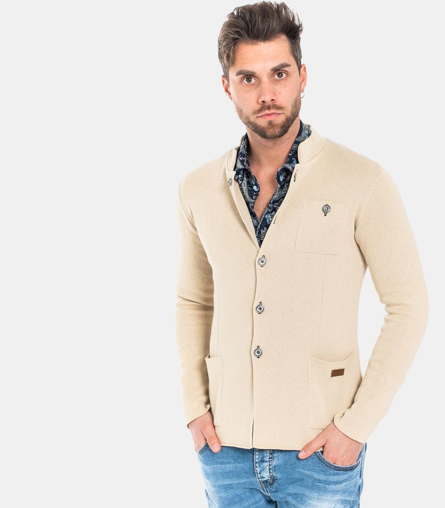 MEN'S COREAN KNITTED JACKET SAND