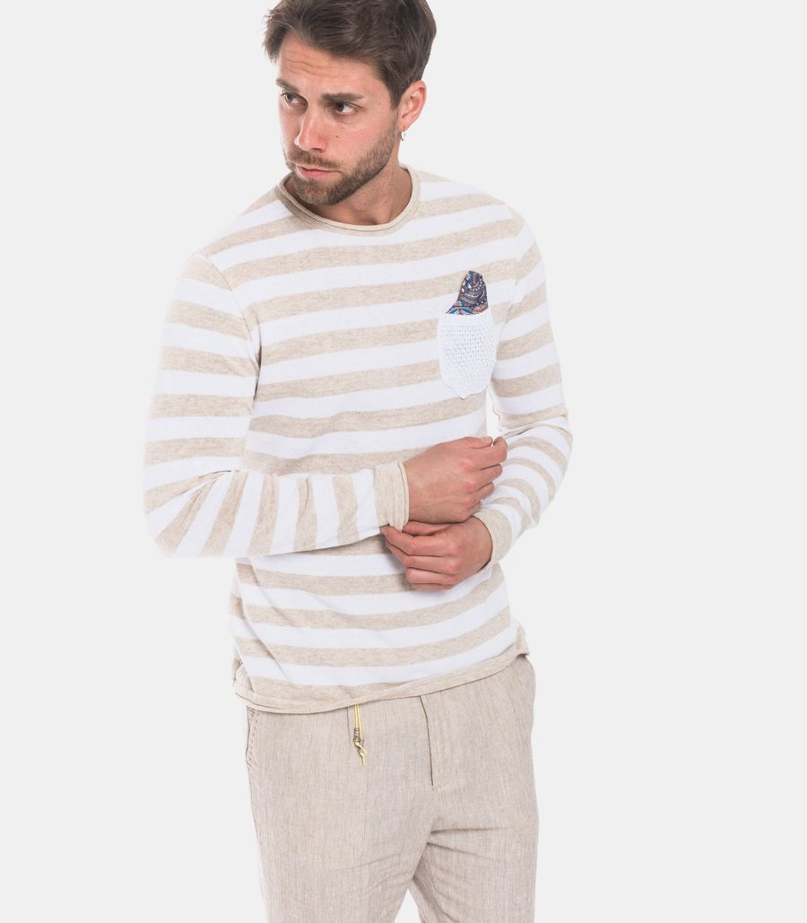 Men's horizontal line with pochette beige