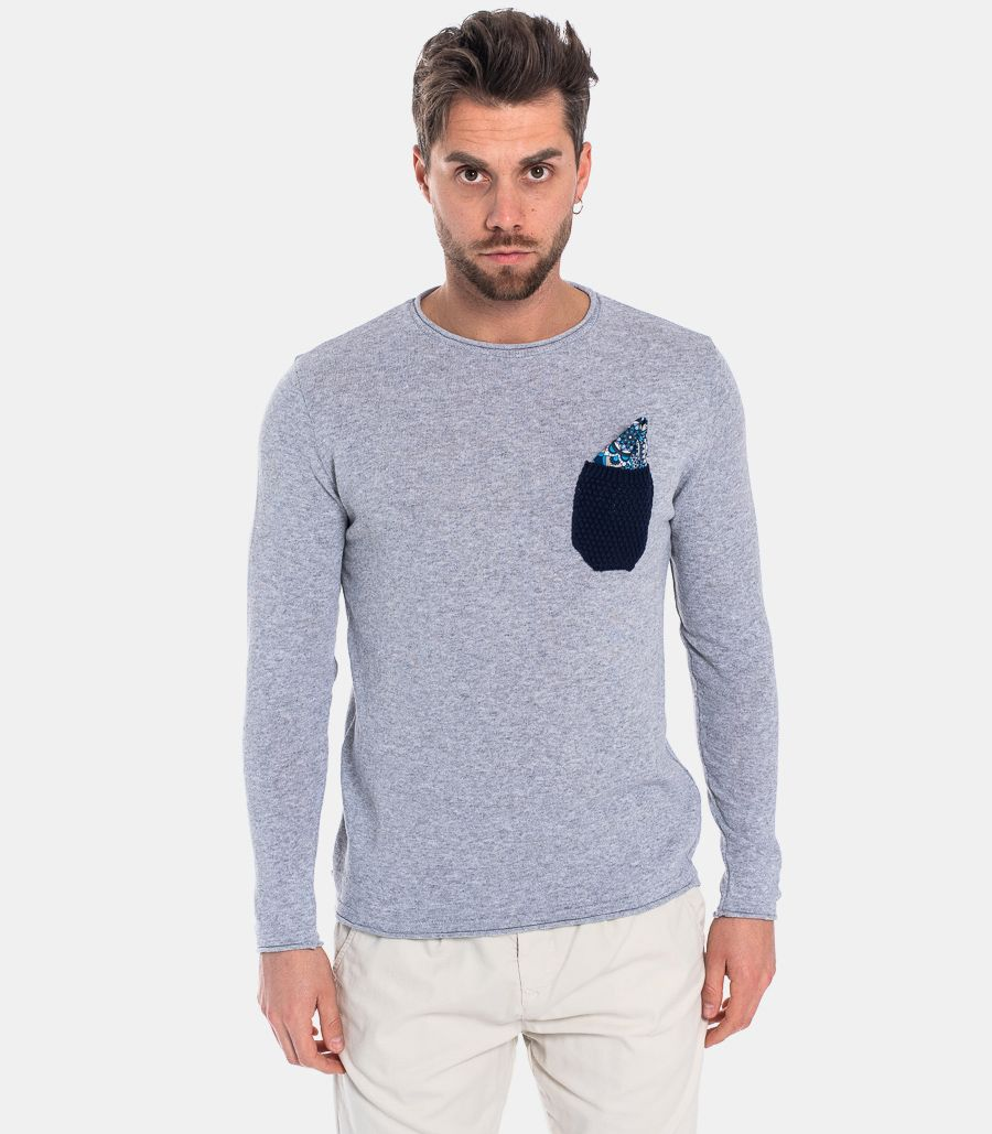 MEN'S POCHET AND POCHETTE SWEATER GREY