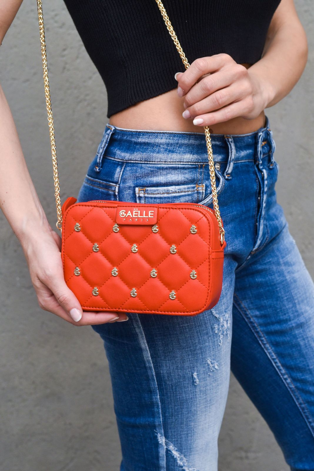 Women's mini shoulder bag with applications red. GBDA2256ROSSO