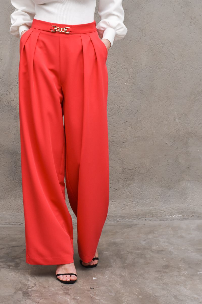 Women's palazzto trousers with chain fuxia. P9990016LFuxia