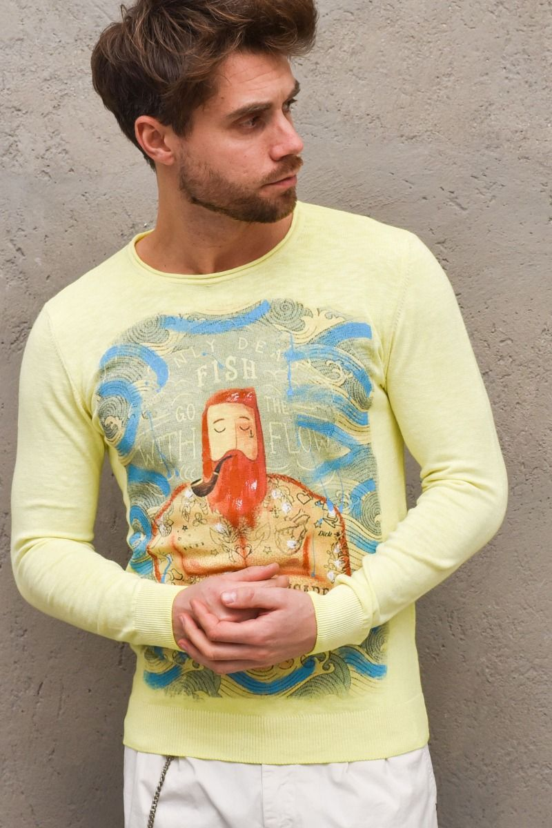 Men's long sleeves sweater lime. B1550GIALLO